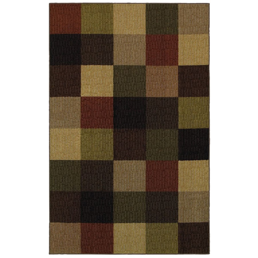 Mohawk Home Memphis Squares 5-ft x 8-ft Rectangular Red Transitional Area Rug