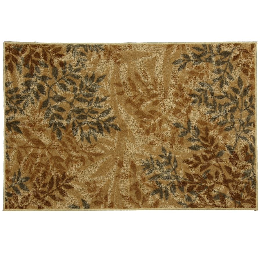 Mohawk Home Waterloo Leaves Beige Brown Rectangular Indoor Tufted Throw Rug (Common: 2 x 4; Actual: 30-in W x 46-in L x 0.5-ft Dia)