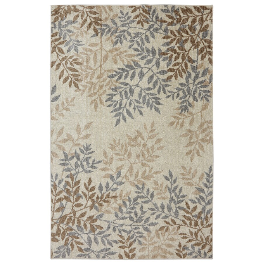 Mohawk Home Sylvara Tan Rectangular Indoor Machine-Made Inspirational Area Rug (Common: 5 x 8; Actual: 5-ft W x 8-ft L x 0.5-ft dia)