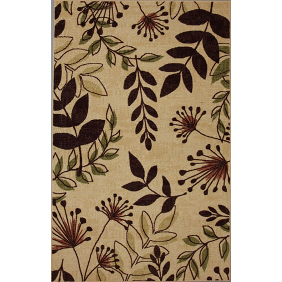 Mohawk Home Laurel Leaves Brown Rectangular Indoor Tufted Area Rug (Common: 5 x 8; Actual: 60-in W x 96-in L x 0.5-ft Dia)