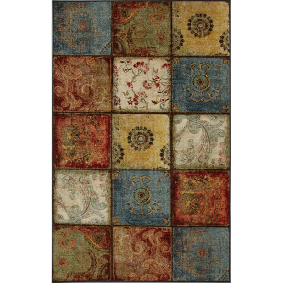 Mohawk Home Yellow Springs Patchwork Multicolor Rectangular Indoor Machine-Made Inspirational Area Rug (Common: 5 x 8; Actual: 5-ft W x 8-ft L x 0.5-ft dia)