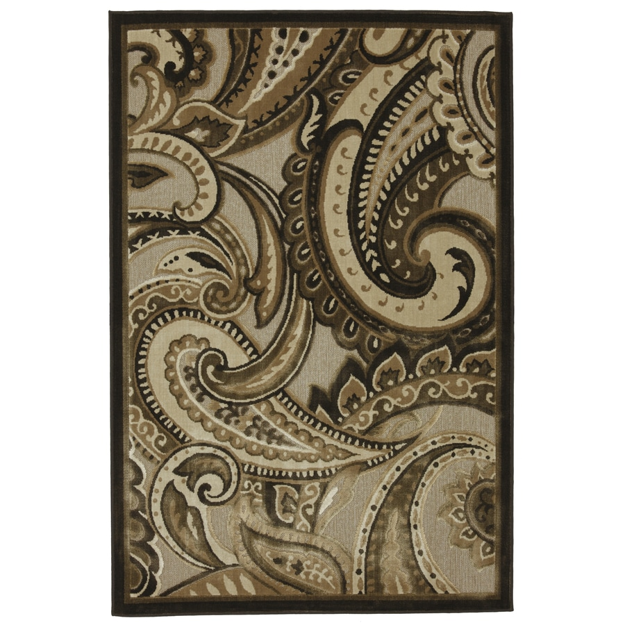 Mohawk Home Brown Paisley Natural Rectangular Indoor Woven Area Rug Common 8 X