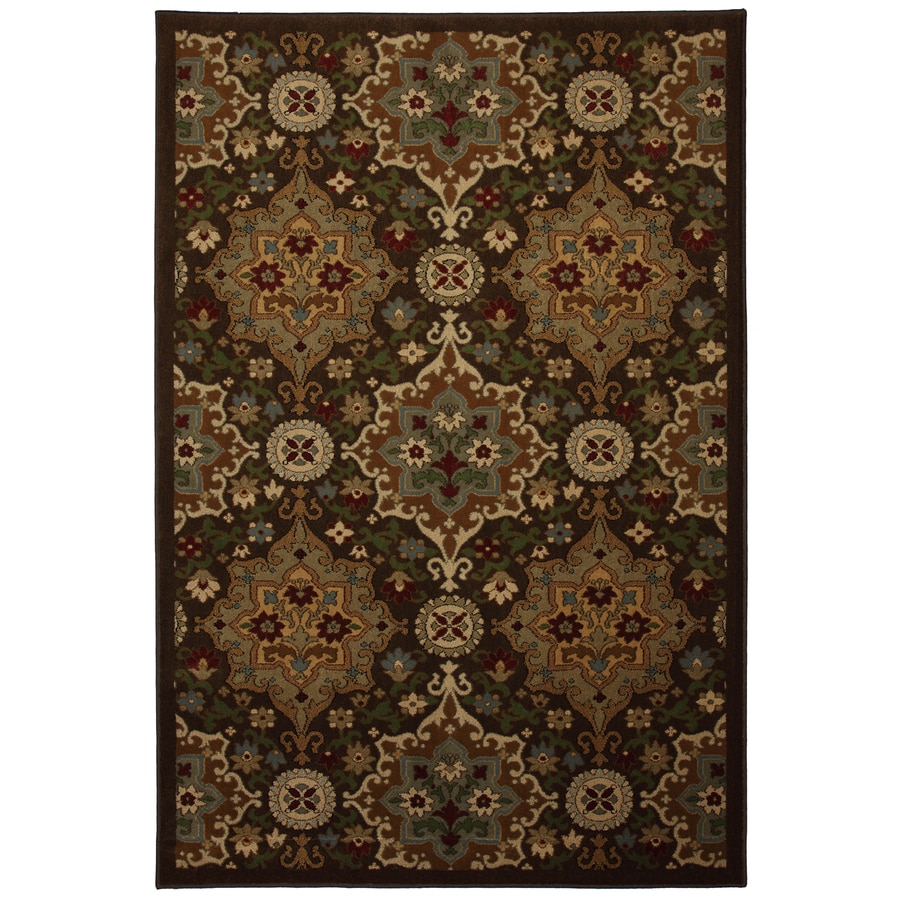 allen + roth Mifflin Brown Brown Rectangular Indoor Woven Area Rug (Common: 5 x 8; Actual: 63-in W x 94-in L x 0.5-ft Dia)