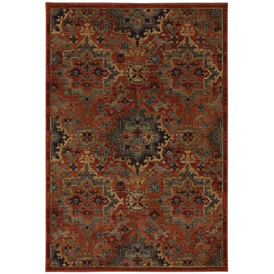 allen + roth Elverson Coral Brown Rectangular Indoor Woven Area Rug (Common: 8 x 10; Actual: 96-in W x 120-in L x 0.5-ft Dia)
