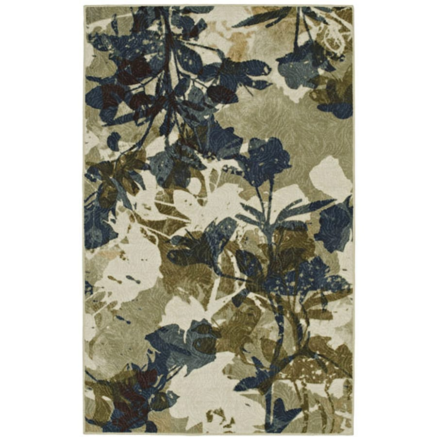 Mohawk Home Floral Silhouette Beige Rectangular Gray Floral Tufted Area Rug (Common: 5-ft x 8-ft; Actual: 60-in x 96-in)