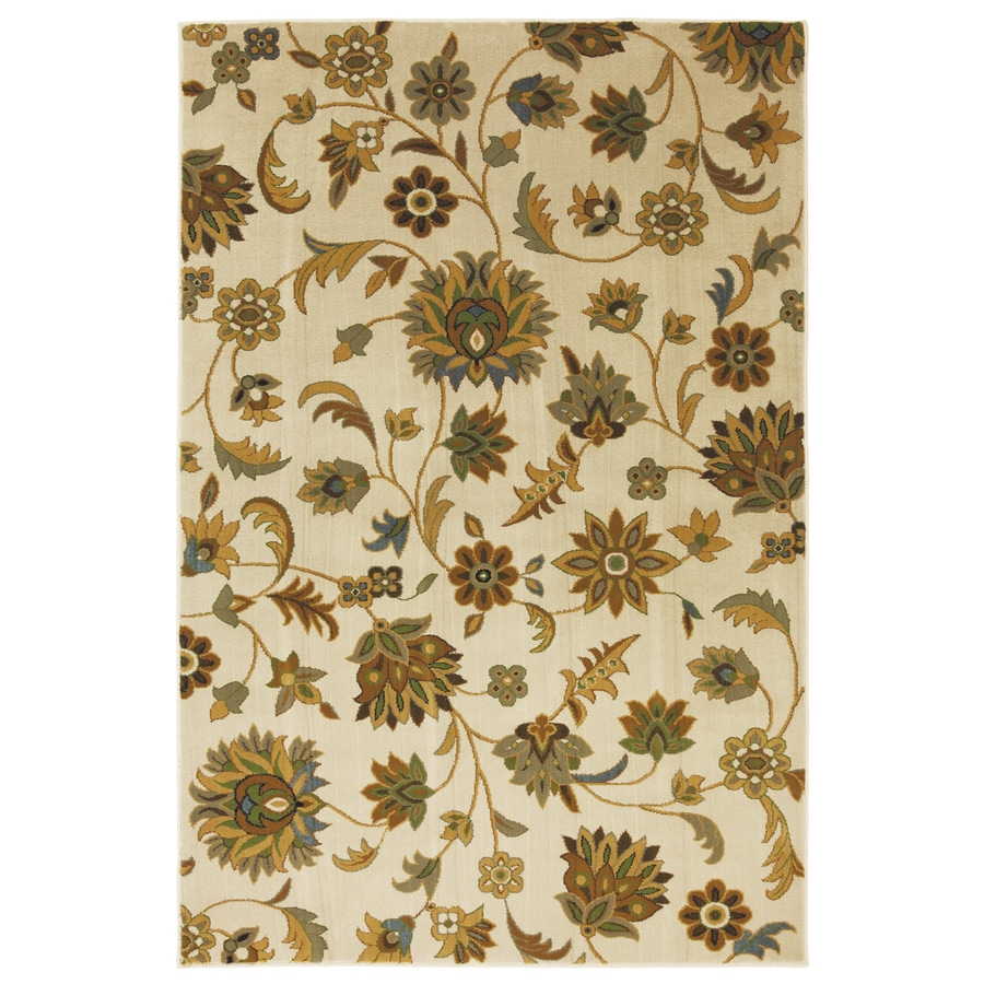 Mohawk Home Blackbourne Sand Storm Rectangular Cream Floral Woven Area Rug (Common: 8-ft x 10-ft; Actual: 8-ft x 10-ft)