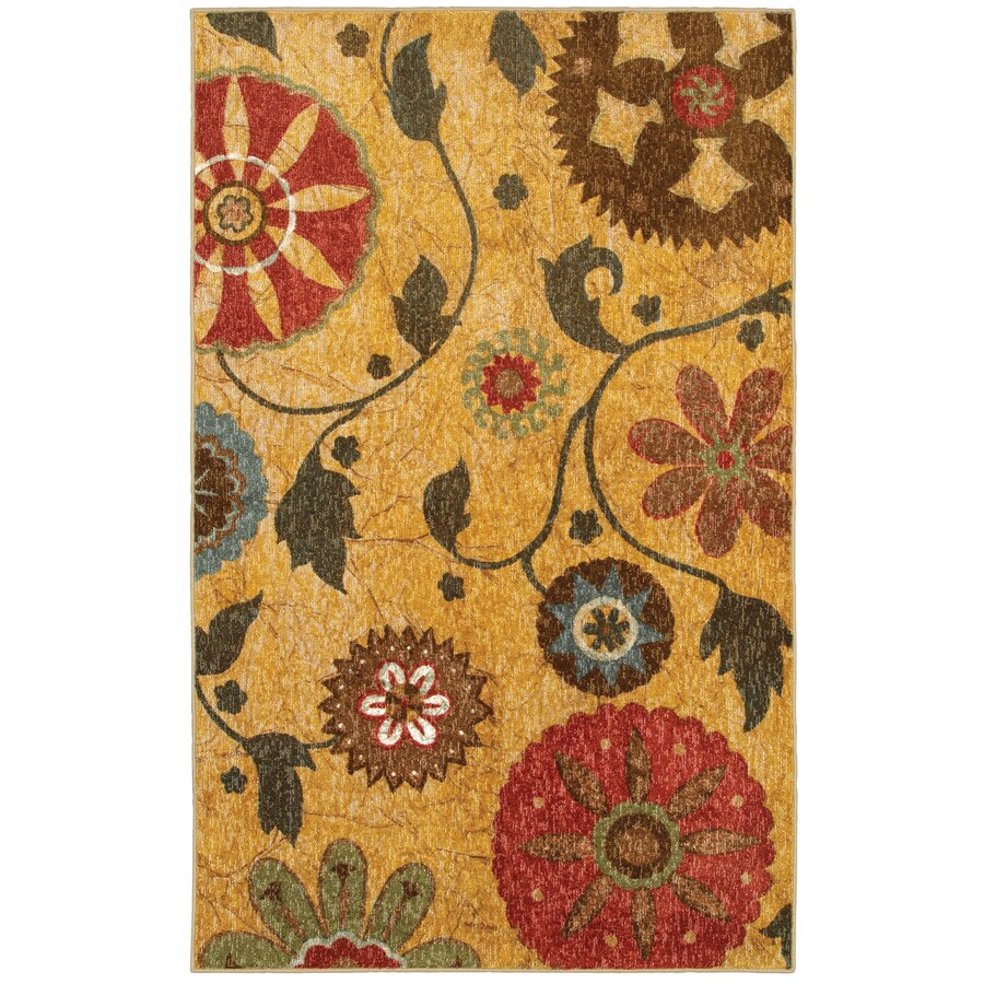 Mohawk Home Yellow Medallion Multicolor Rectangular Indoor Woven Area Rug (Common: 5 x 8; Actual: 60-in W x 84-in L x 0.5-ft Dia)