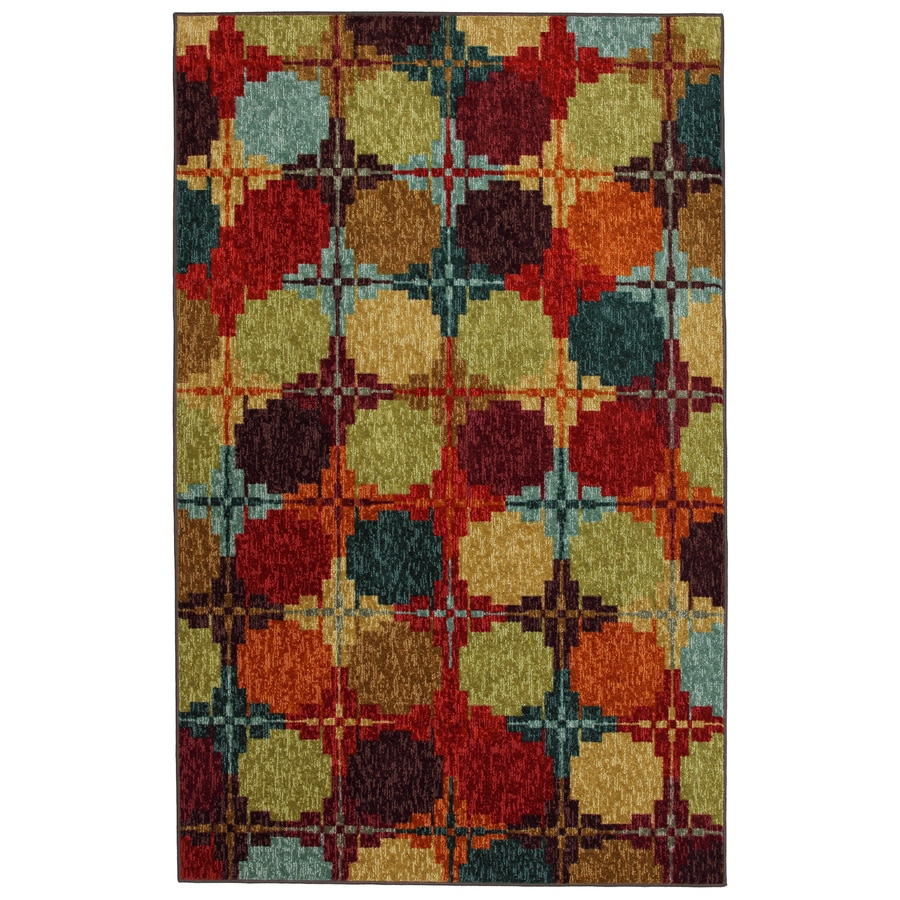 Mohawk Home Digital Quilt Multicolor Rectangular Indoor Tufted Area Rug (Common: 5 x 8; Actual: 60-in W x 96-in L x 0.5-ft Dia)