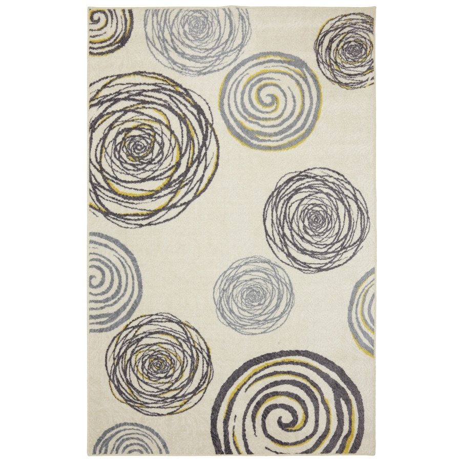 Mohawk Home Swirlz Cream Rectangular Indoor Tufted Area Rug (Common: 5 x 8; Actual: 60-in W x 96-in L x 0.5-ft Dia)