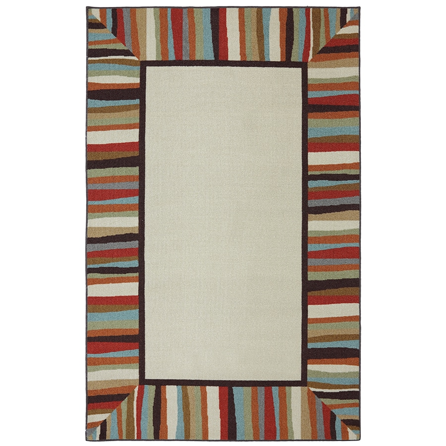 Mohawk Home Patio Border Ivory Rectangular Outdoor Tufted Area Rug (Common: 5 x 8; Actual: 5-ft W x 8-ft L x 0.5-ft Dia)
