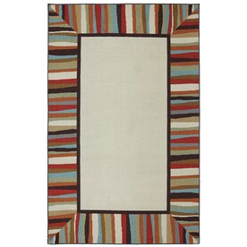 Mohawk Home Patio Border Ivory Rectangular Outdoor Tufted Area Rug (Common:  5 X 8