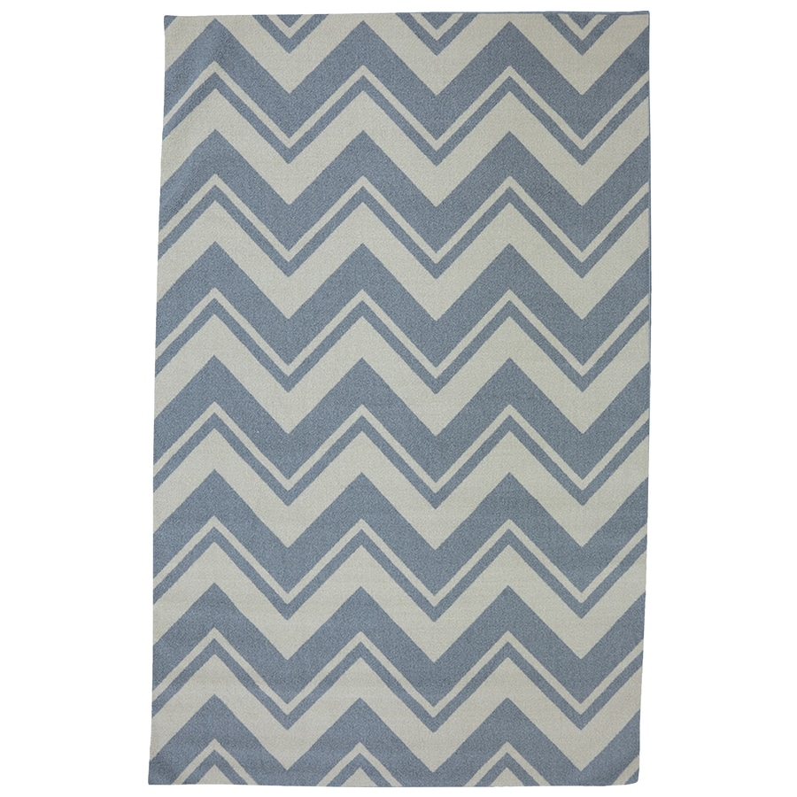 Mohawk Home Pool Zig Zag Blue Rectangular Outdoor Tufted Area Rug (Common: 5 x 8; Actual: 5-ft W x 8-ft L x 0.5-ft Dia)
