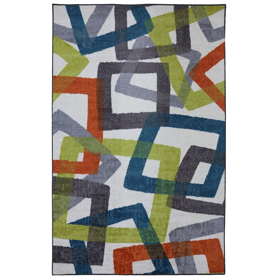 Mohawk Home Transform Rectangular Gray Geometric Tufted Area Rug (Common: 5-ft x 8-ft; Actual: 5-ft x 8-ft)