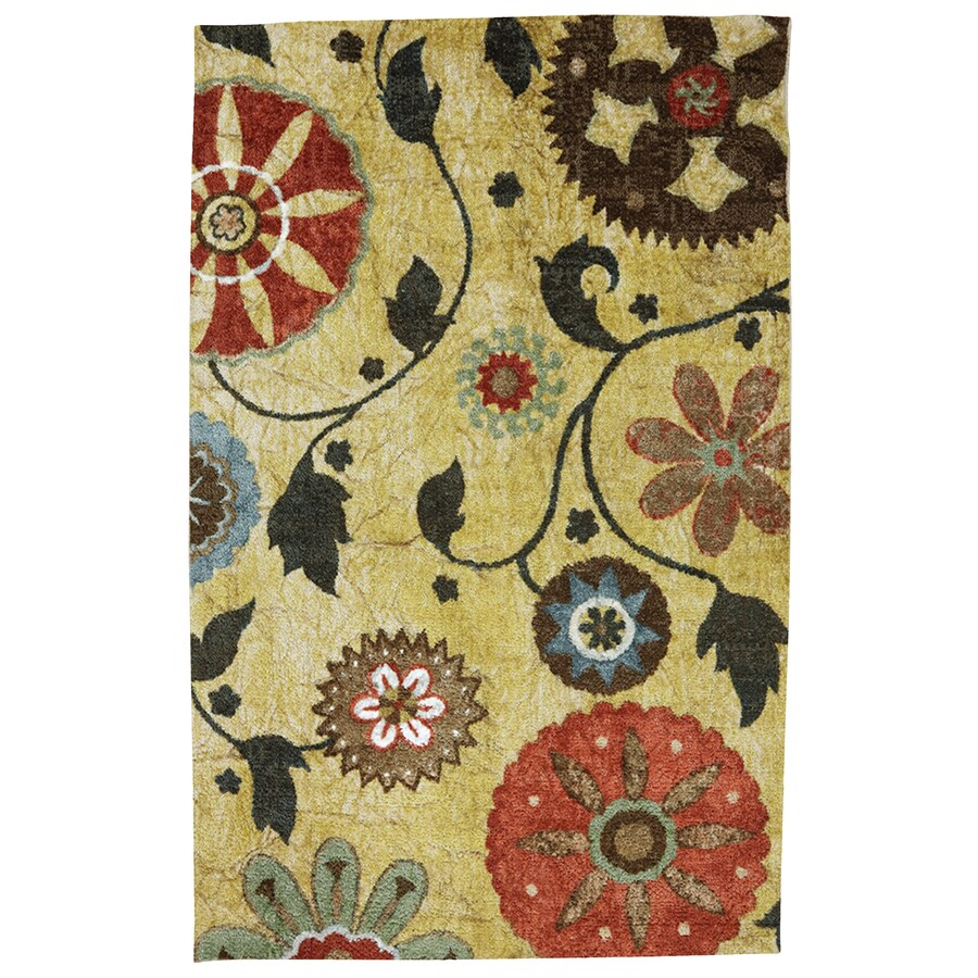 Mohawk Home Yellow Medallion Yellow Rectangular Indoor Tufted Area Rug (Common: 8 x 10; Actual: 8-ft W x 10-ft L x 0.5-ft Dia)