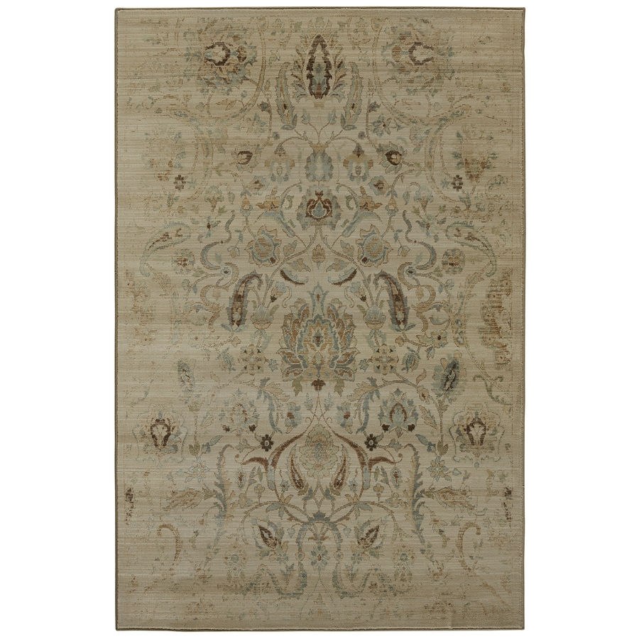 Mohawk Home Serenity Sentiment Butter Pecan Rectangular Indoor Machine-Made Inspirational Area Rug (Common: 8x11; Actual: 8-ft W x 11-ft L x 0.5-ft dia)