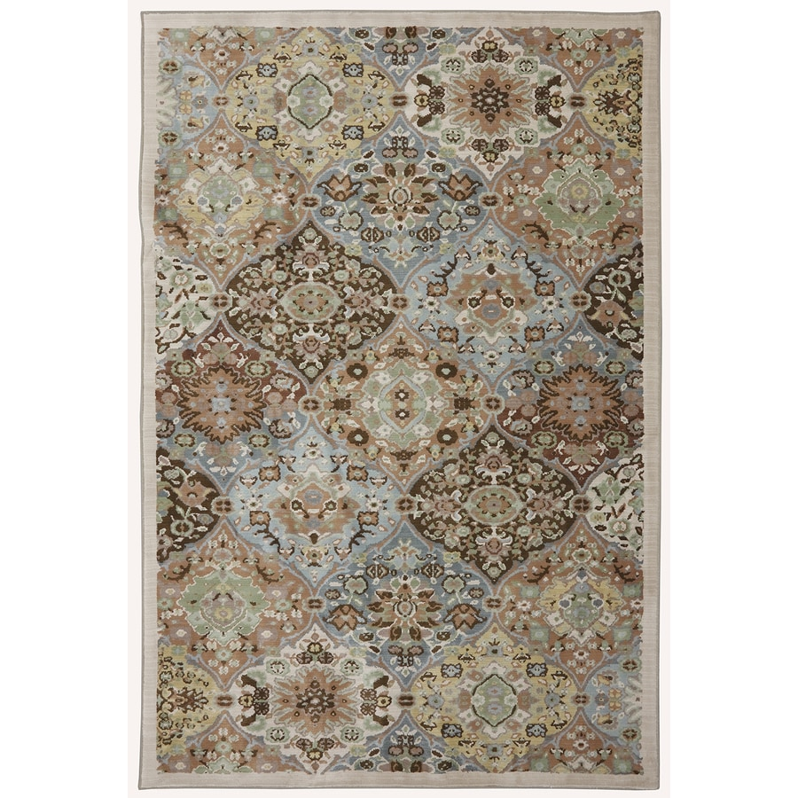 Mohawk Home Kirman Coast Peat Moss Cream Rectangular Indoor Woven Area Rug (Common: 5 x 8; Actual: 5.25-ft W x 7.8333-ft L x 0.5-ft Dia)