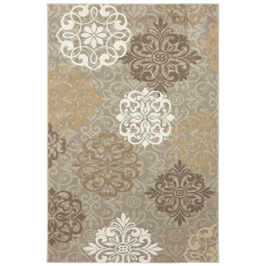 Mohawk Home Open Vista Dark Beige Brown/Tan Rectangular Indoor Machine-Made Inspirational Area Rug (Common: 5 x 8; Actual: 5.25-ft W x 7.8333-ft L x 0.5-ft dia)