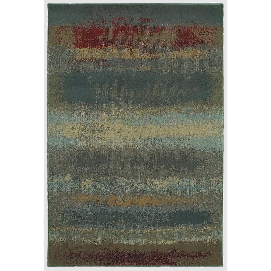 Mohawk Home Rothko Sand Beige Blue Rectangular Indoor Woven Area Rug (Common: 5 x 8; Actual: 5.25-ft W x 7.8333-ft L x 0.5-ft Dia)