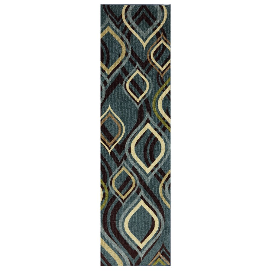 Style Selections Pedrin Blue Rectangular Indoor Tufted Runner (Common: 2 x 8; Actual: 2-ft W x 8-ft L x 0.5-ft Dia)