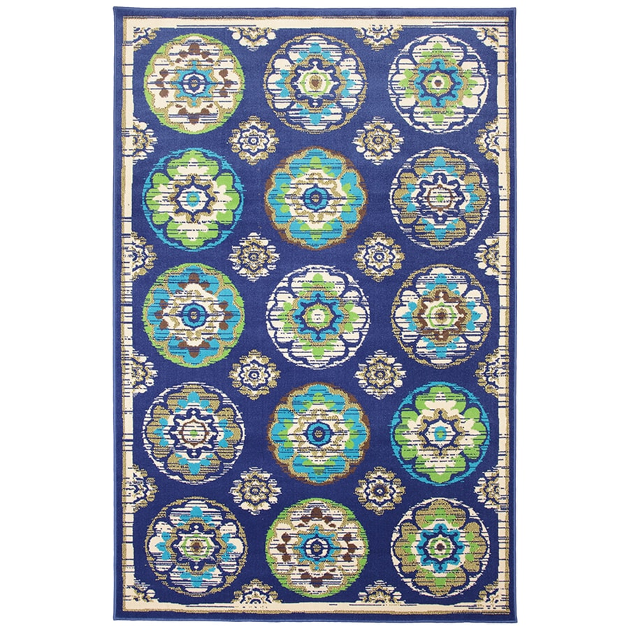 Mohawk Home Clover Leaf Rectangular Blue Floral Outdoor Woven Area Rug (Common: 5-ft x 8-ft; Actual: 5.25-ft x 7.83-ft)