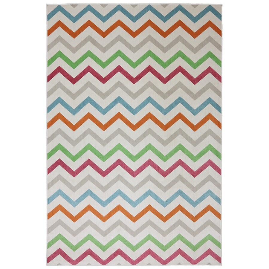 Mohawk Home Herringbone Rectangular Cream Transitional Outdoor Woven Area Rug (Common: 5-ft x 8-ft; Actual: 5.25-ft x 7.83-ft)