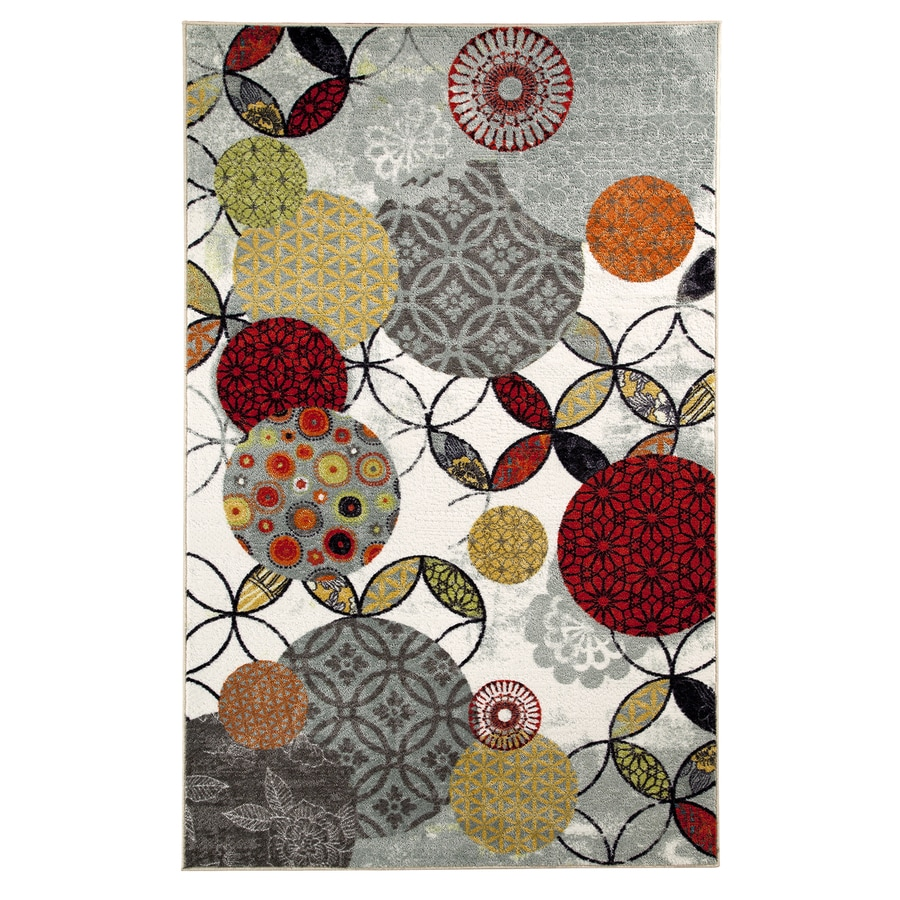 Mohawk Home Give and Take Rectangular White Geometric Tufted Area Rug (Common: 5-ft x 8-ft; Actual: 5-ft x 8-ft)