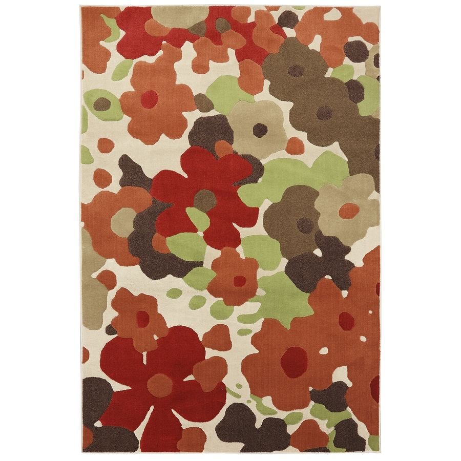 Mohawk Home Sensation Red/Cream Rectangular Indoor Woven Area Rug (Common: 5 x 8; Actual: 5.25-ft W x 7.8333-ft L x 0.5-ft Dia)
