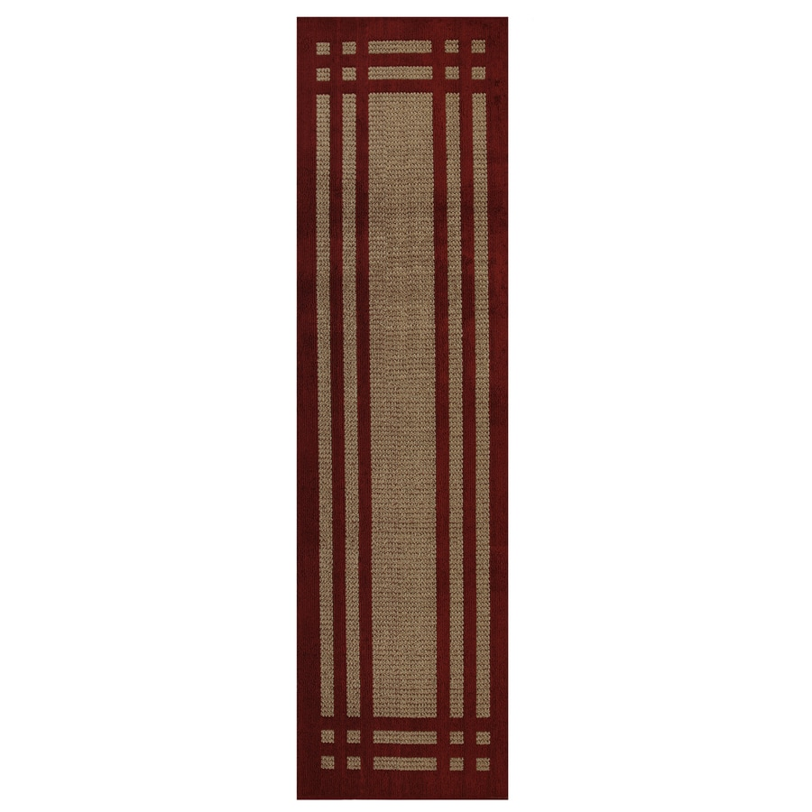 allen + roth Carney Red Rectangular Indoor Tufted Runner (Common: 2 x 8; Actual: 24-in W x 96-in L x 0.5-ft dia)