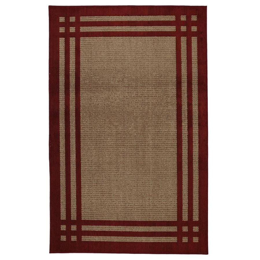 allen + roth Carney Red Rectangular Indoor Machine-Made Inspirational Area Rug (Common: 5 x 8; Actual: 5-ft W x 8-ft L x 0.5-ft dia)