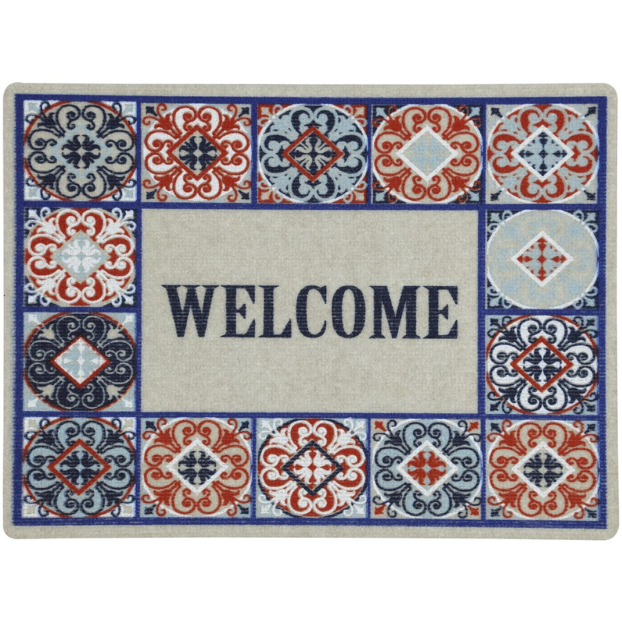 Mohawk Home Blue Rectangular Door Mat (Common: 1-1/2-ft x 2-1/2-ft; Actual: 18-in x 24-in)