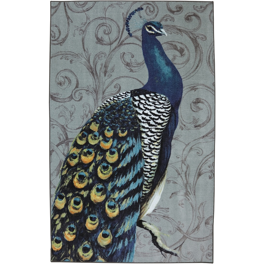 Mohawk Home Peacock Feathers Gray Rectangular Indoor Machine-Made Inspirational Area Rug (Common: 5 x 8; Actual: 5-ft W x 8-ft L x 0.5-ft dia)