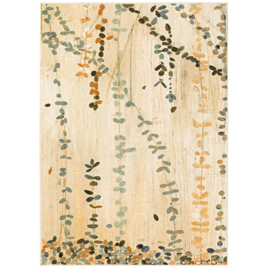 Mohawk Home Trailing Vines Cream Rectangular Indoor Machine-Made Inspirational Area Rug (Common: 5 x 7; Actual: 5-ft W x 7-ft L x 0.5-ft dia)