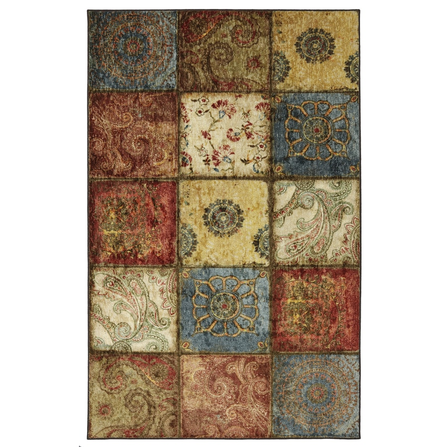 Mohawk Home Artifact Panel Multicolor Rectangular Indoor Tufted Area Rug (Common: 8 x 10; Actual: 96-in W x 120-in L x 0.5-ft Dia)
