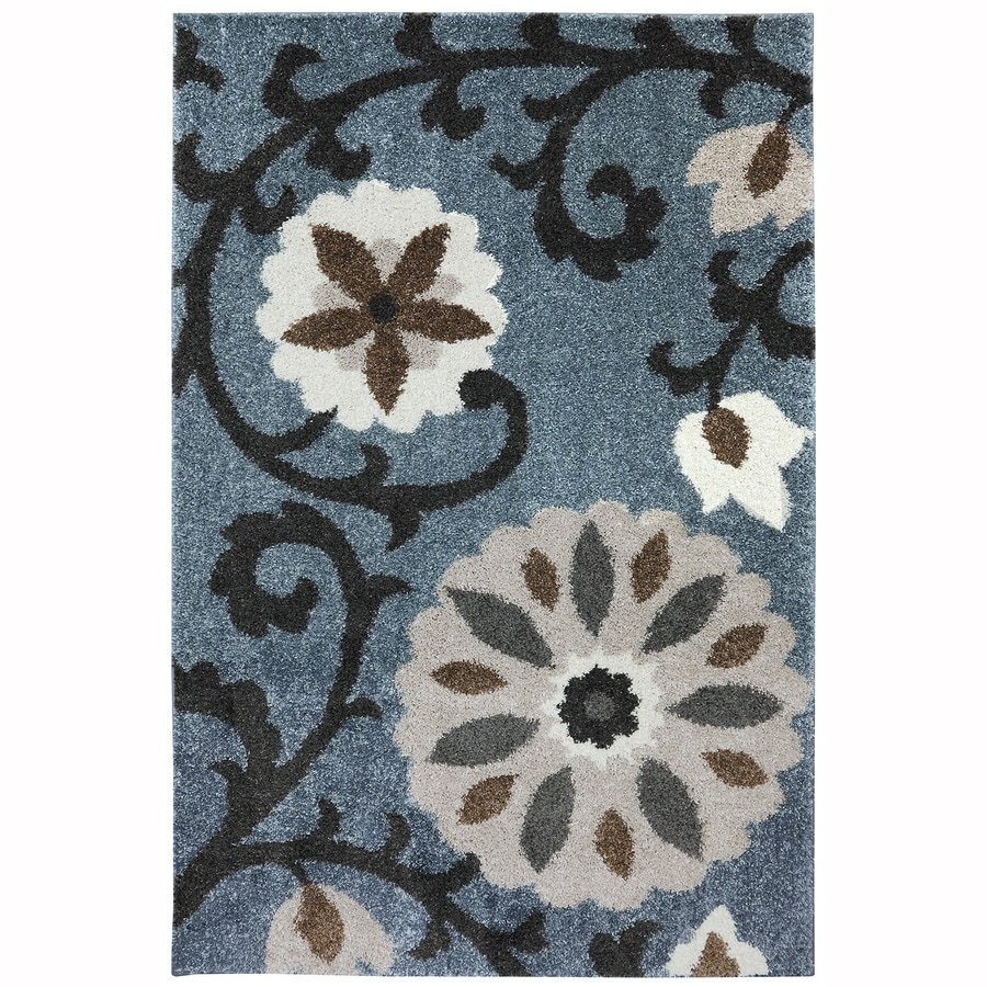 Mohawk Home Hazelhurst Abyss Blue Blue Rectangular Indoor Machine-Made Inspirational Area Rug (Common: 8 x 11; Actual: 8-ft W x 11-ft L x 0.5-ft Dia)