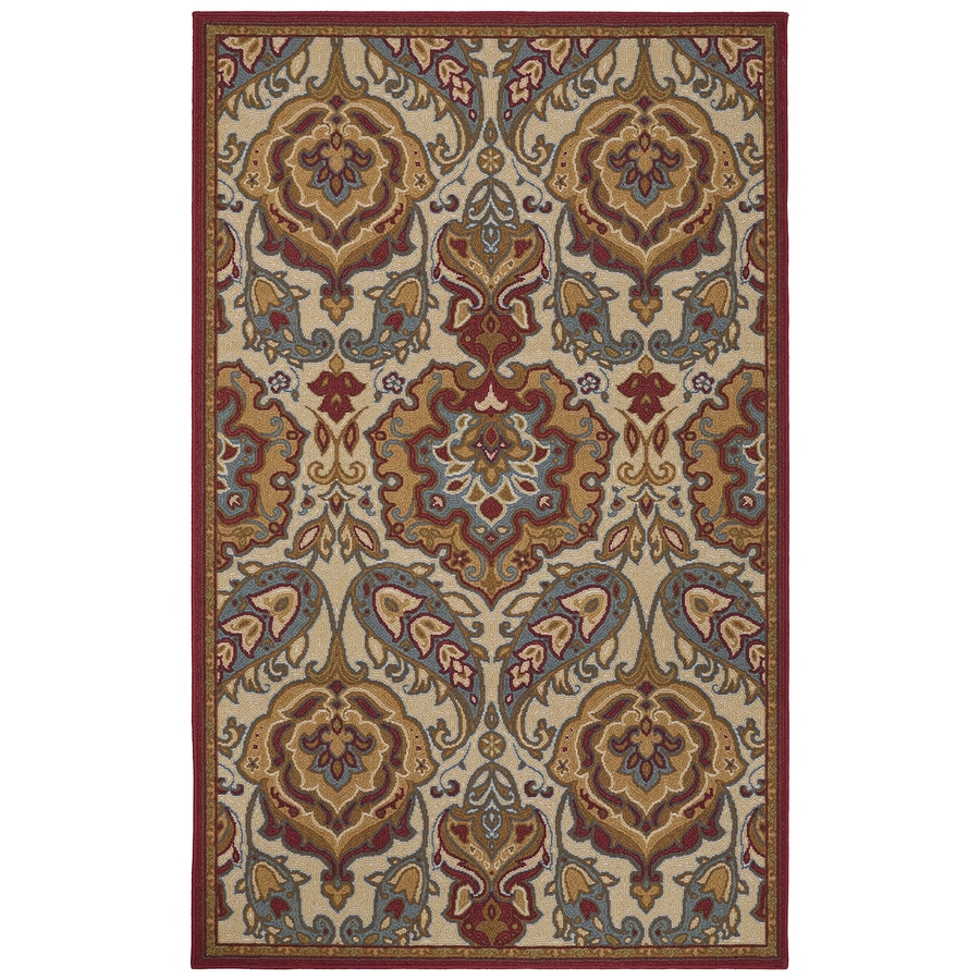 Mohawk Home Tennyson Red Rectangular Indoor Machine-Made Inspirational Area Rug (Common: 5 x 8; Actual: 5-ft W x 8-ft L x 0.5-ft dia)
