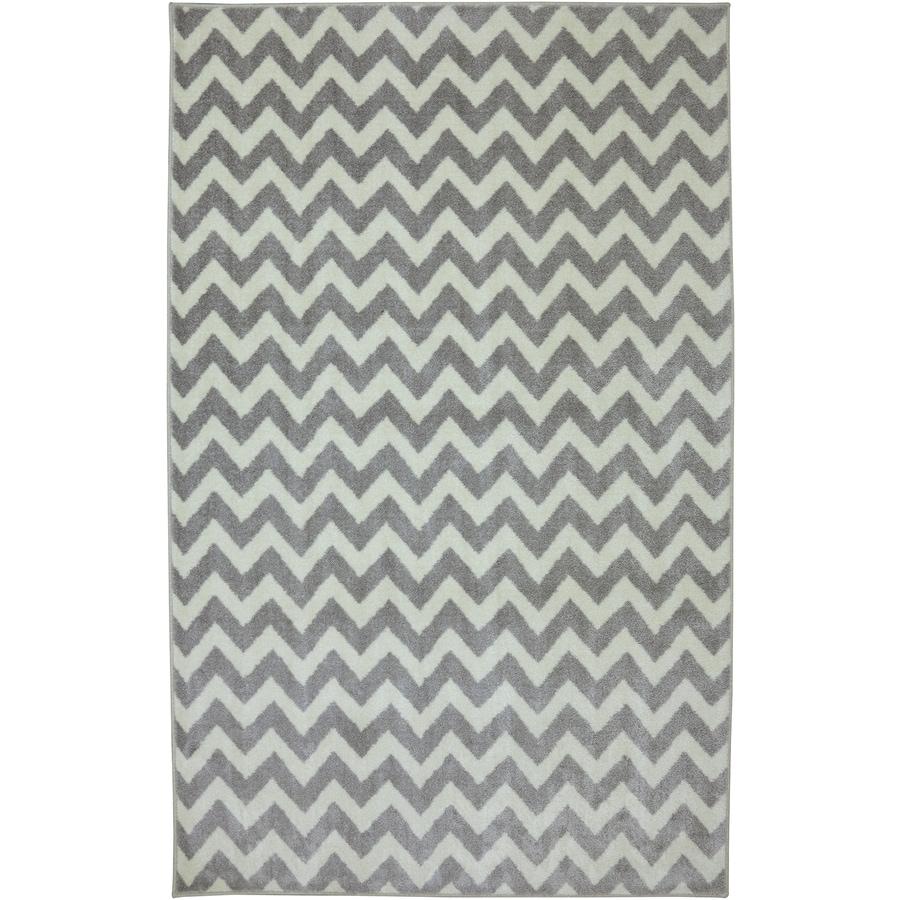 Mohawk Home Fun Lines Gray Cream Rectangular Indoor Tufted Area Rug (Common: 5 x 8; Actual: 5-ft W x 8-ft L x 0.5-ft Dia)