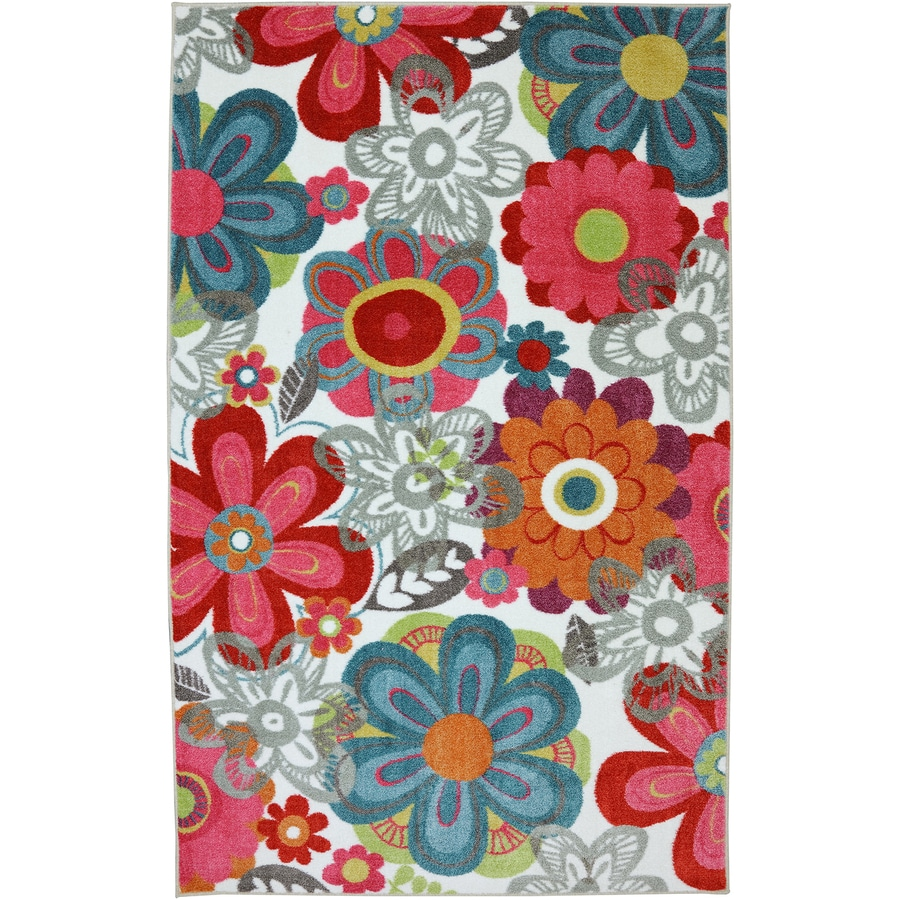 Mohawk Home Teen Floral Multi Multicolor Rectangular Indoor Tufted Area Rug (Common: 5 x 8; Actual: 5-ft W x 8-ft L x 0.5-ft Dia)