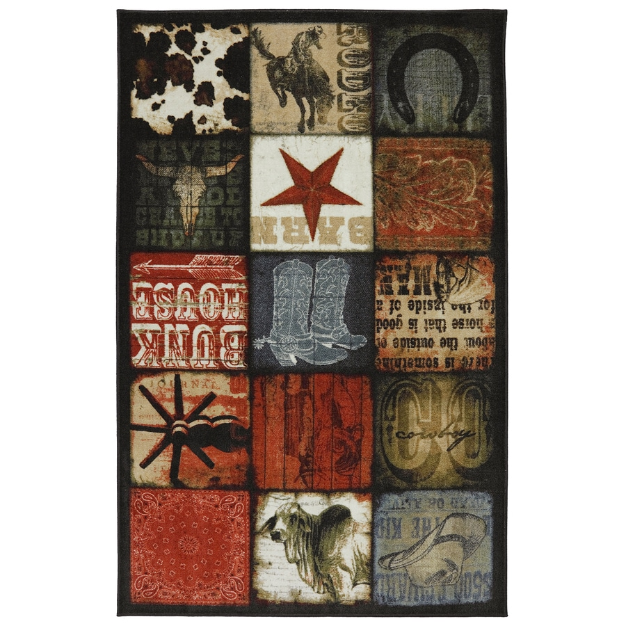 Mohawk Home Cowboy Patches Multi Brown Rectangular Indoor Tufted Area Rug (Common: 5 x 8; Actual: 60-in W x 96-in L x 0.5-ft Dia)