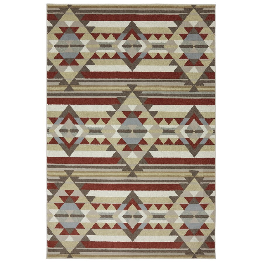 Mohawk Home Diamond Canyon Cream/Red Rectangular Indoor Woven Area Rug (Common: 5 x 8; Actual: 63-in W x 94-in L x 0.5-ft Dia)