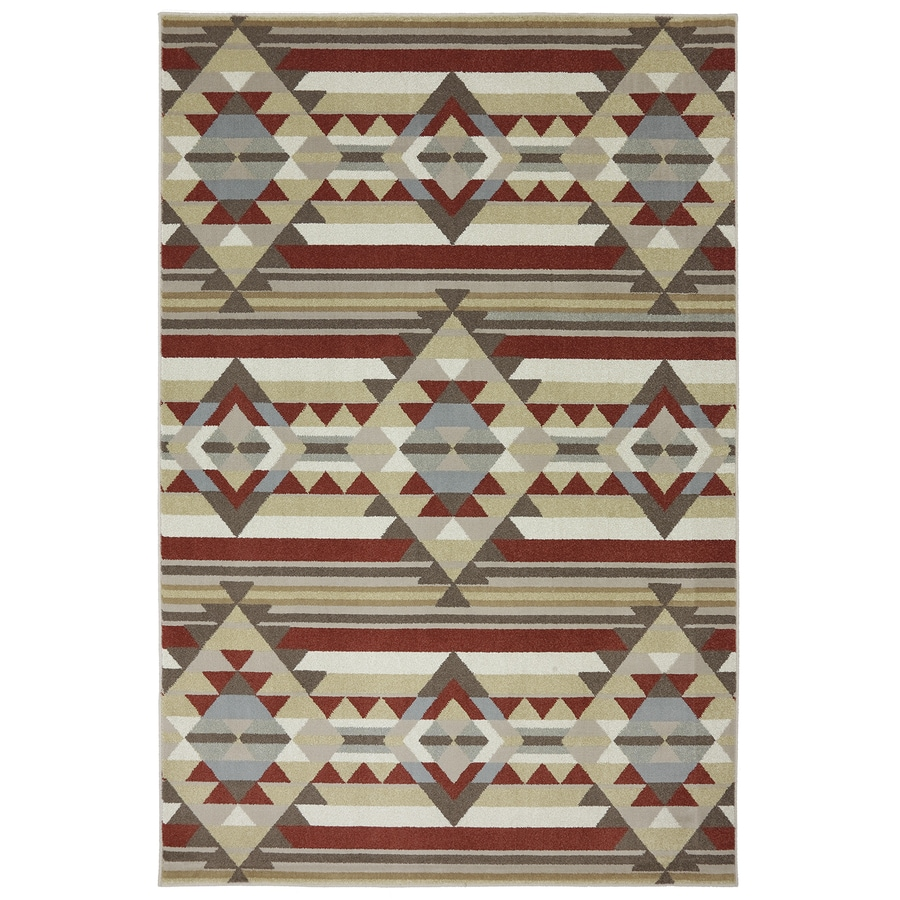 Mohawk Home Diamond Canyon Cream/Red Rectangular Indoor Machine-Made Inspirational Area Rug (Common: 5 x 8; Actual: 5.25-ft W x 7.8333-ft L x 0.5-ft dia)