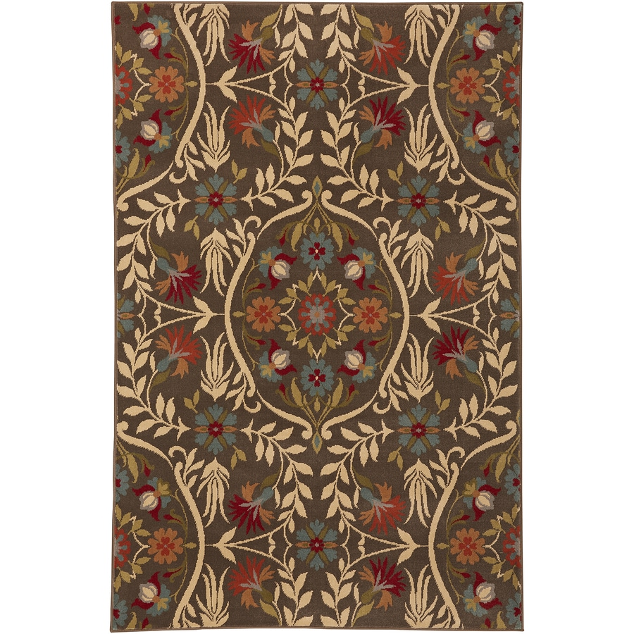 Mohawk Home Amicalola Saddle Brown/Tan Rectangular Indoor Machine-Made Inspirational Area Rug (Common: 5 x 8; Actual: 5.25-ft W x 7.8333-ft L x 0.5-ft dia)