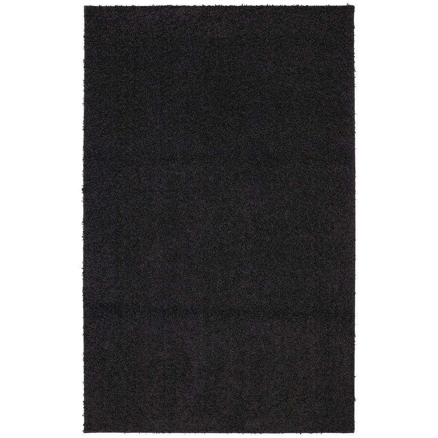 Mohawk Home Modern Shag Black Black Rectangular Indoor Tufted Area Rug (Common: 5 x 8; Actual: 60-in W x 96-in L x 0.5-ft Dia)