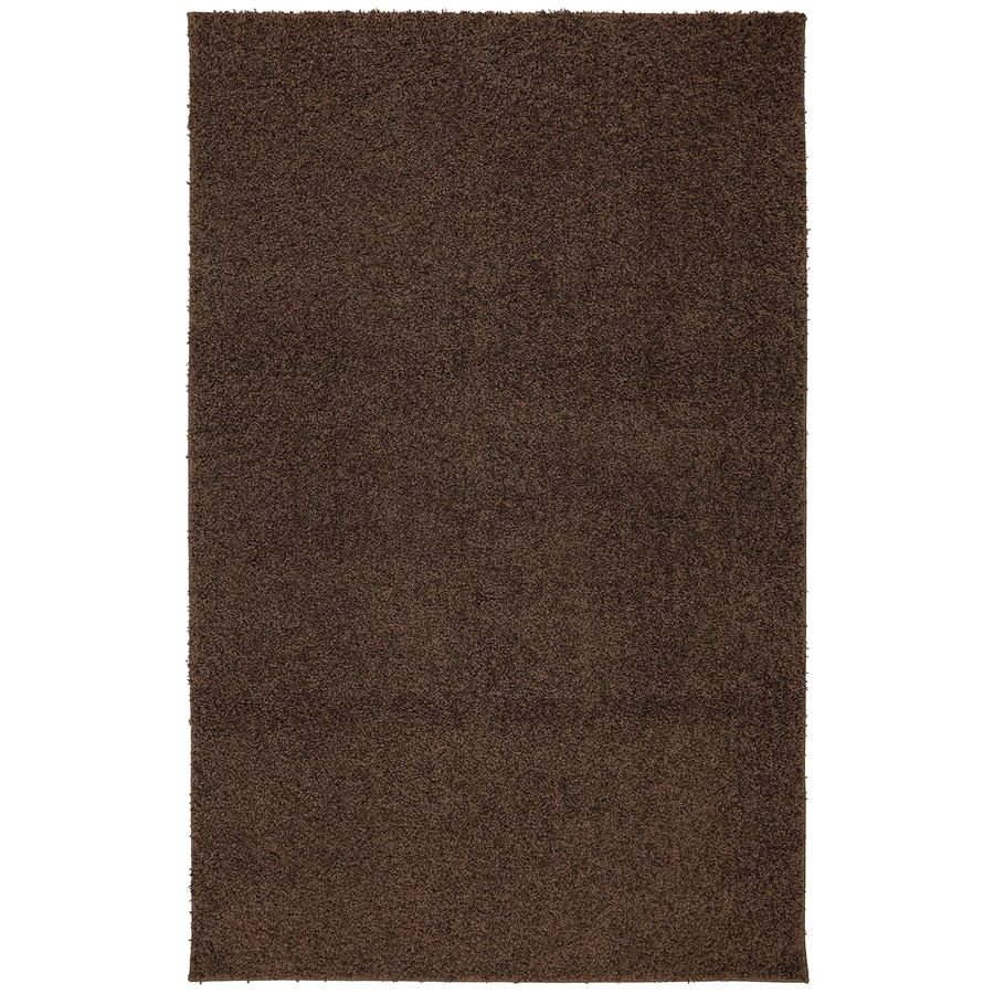 Mohawk Home Modern Shag Medium Brown Brown Rectangular Indoor Tufted Area Rug (Common: 5 x 8; Actual: 60-in W x 96-in L x 0.5-ft Dia)