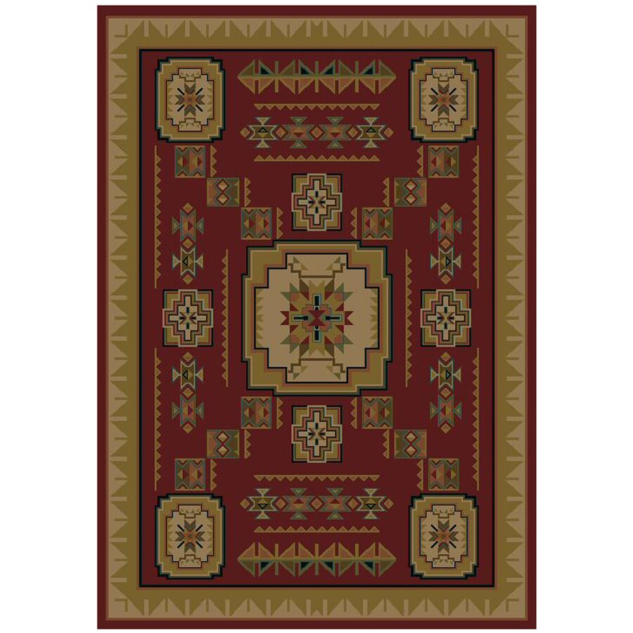 Mohawk Home Pueblo Rectangular Red Geometric Woven Area Rug (Common: 5-ft x 8-ft; Actual: 5.25-ft x 7.83-ft)