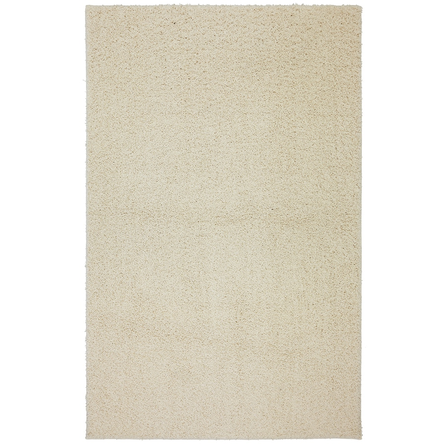 Mohawk Home Modern Shag Starch Cream Rectangular Indoor Machine-Made Inspirational Area Rug (Common: 8 x 10; Actual: 8-ft W x 10-ft L x 0.5-ft dia)
