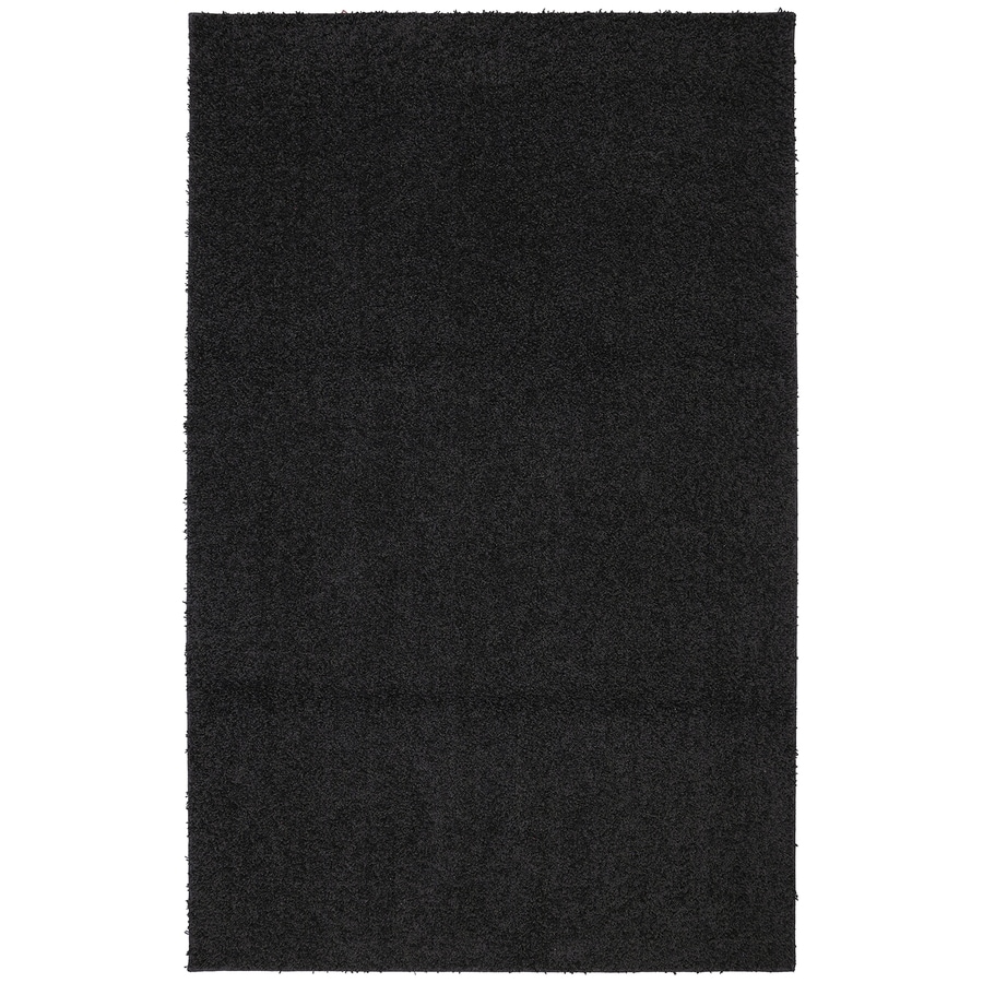 Mohawk Home Modern Shag Black Black Rectangular Indoor Tufted Area Rug (Common: 8 x 10; Actual: 8-ft W x 10-ft L x 0.5-ft Dia)