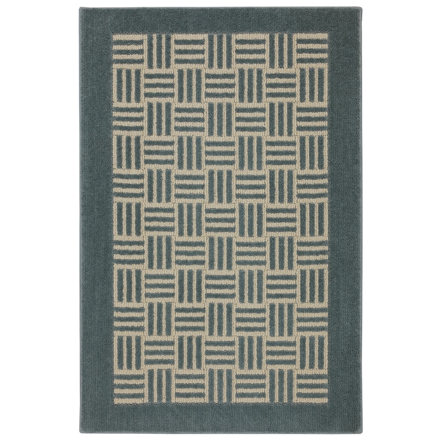 Mohawk Home Checkered Past Green Milieu/Almond Buff Green Rectangular Indoor Tufted Throw Rug (Common: 3 x 5; Actual: 2.5-ft W x 3.8333-ft L x 0.5-ft Dia)
