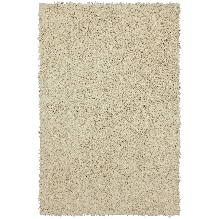 Mohawk Home Shaggedy Shag Cream Ivory Rectangular Indoor Shag Area Rug (Common: 5 x 7; Actual: 5-ft W x 7-ft L x 0.5-ft Dia)