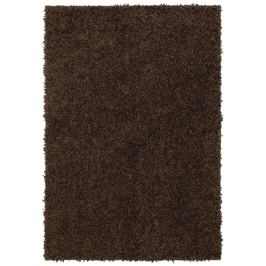 Mohawk Home Shaggedy Shag Brown Brown Rectangular Indoor Shag Area Rug  (Common: 8 X