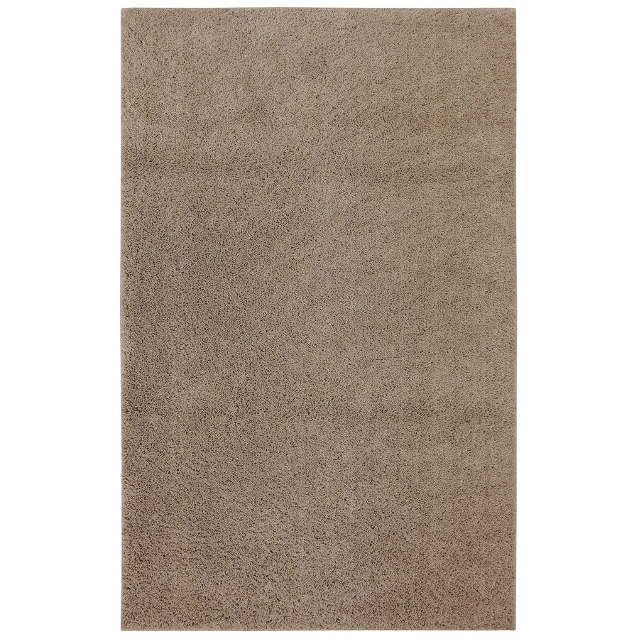 Mohawk Home Shaggedy Shag Taupe Brown Rectangular Indoor Machine Made  Inspirational Area Rug (Common